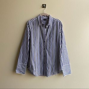 J. Crew Perfect Pinstripe Shirt with Crystal Beads